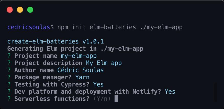 create-elm-batteries cli generator